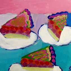 Learning color theory, drawing ellipses, cylinders, under-painting techniques, mixing tints and creating color halation were some of the art ideas that grade 5 students explored in these acrylic paintings inspired by American artist, Wayne Thiebaud