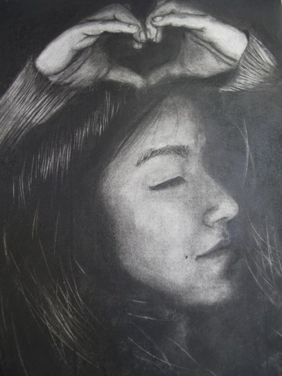 HS Studio Art: Erased Charcoal Self-Portrait